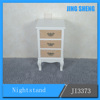 Modern Chinese Furniture White Wooden Small 3 Drawer Bedside Table