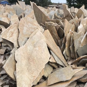 China Irregular natural 1.5-3cm thickness big size crazy beige slate paving stone