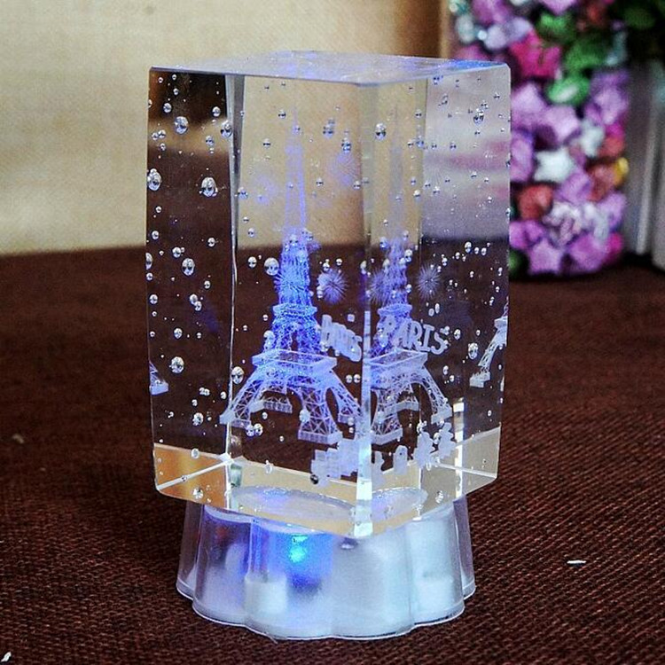 Wholesale Elegant Light Base Crystal Led Glass 3D Laser For Wedding Souvenir Gifts