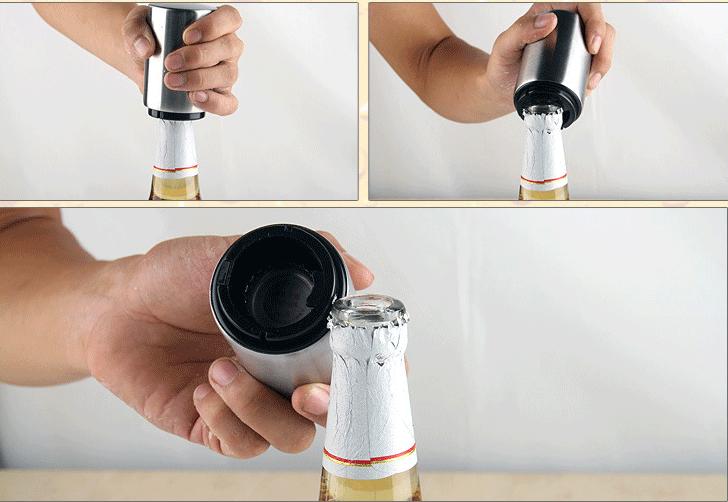 Round Stainless Steel Pressing push down Type Automatic Beer Bottle Opener Beer Lid Opener