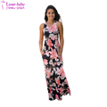 Pretty Women Navy and Peach Floral Print V Neck Maxi Dress L51426-3