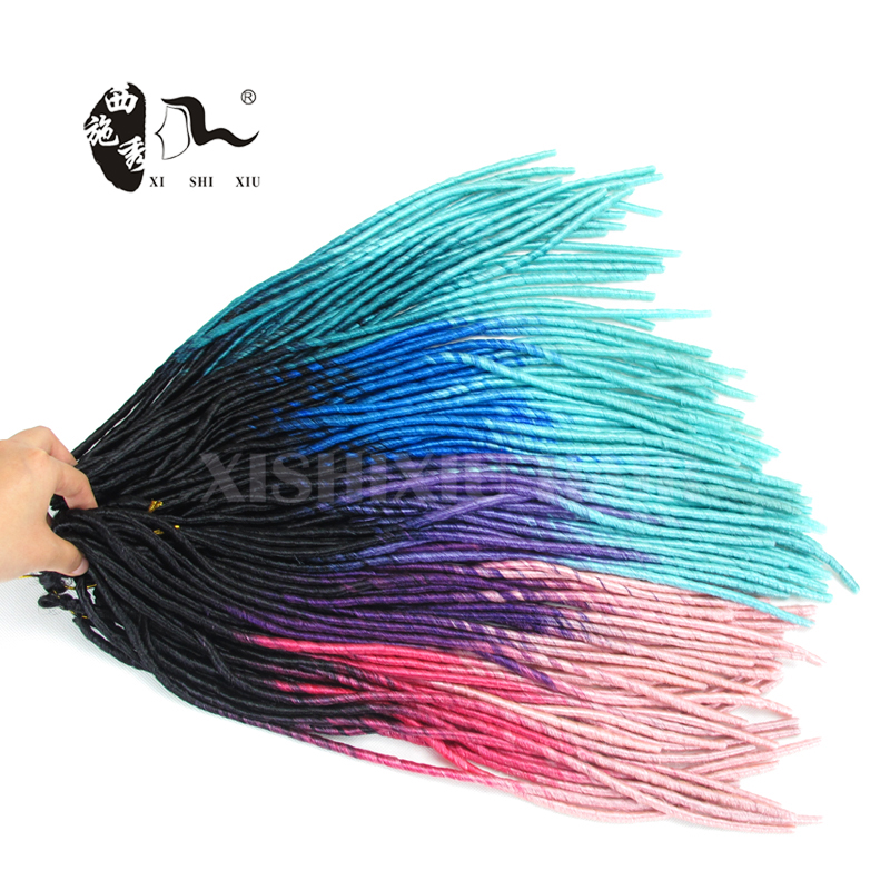 Synthetic Soft Dreadlocks Braids In Ombre Color Faux Locs Braid Hair ...