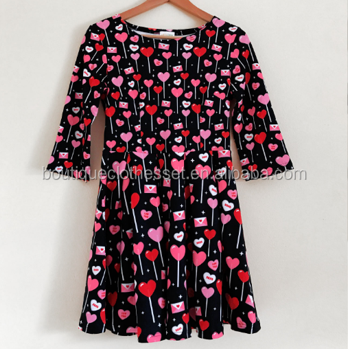 Heart Lollipop Candy 3/4 Sleeve Dress Size 0-16T LOVE Valentine's Day Frocks Heart Girls Valentine Dress
