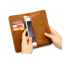 16237 Wholesale Brown Color Full-Grain Leather Passport Holder / Case / organizer with 3 card holders & 1 slip pocket