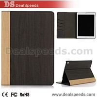 Black Wooden Texture Leather Case Stand PU Cover for iPad Pro 9.7