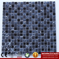 IMARK Electroplated Glass Mosaic Tile Mix Black Marquina Marble Mosaic Tile For Bathroom Tile