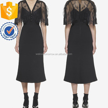 Black V-neckline Tea Length Evening Party Midi Dress Vintage Women Clothing Wholesale Manufacturer China Alibaba(TS904D)