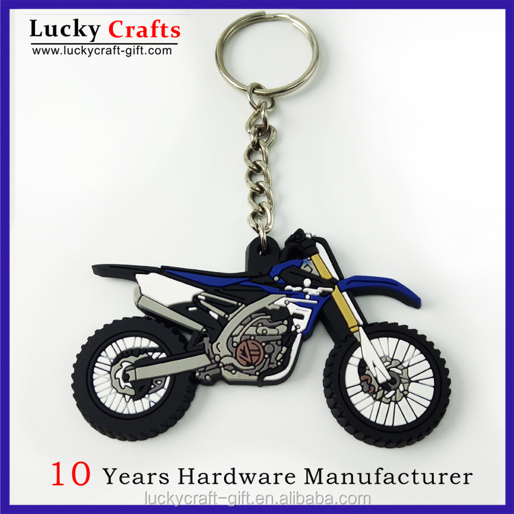 Custom 3D cool motorcycle soft PVC rubber motorcycle keychain