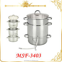 Europe Stainless steel 3layer juice pot set 22 / 24 / 26cm