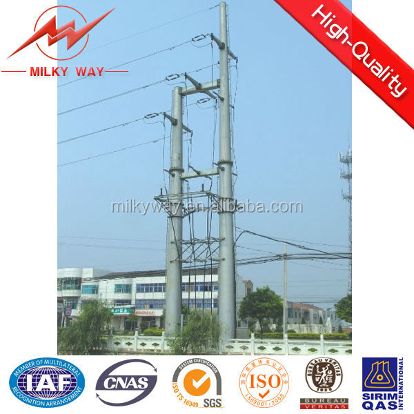 110kv&220kv tapered or octongal steel hot dip galvanization electric transmission tower pole for overhead line project