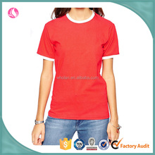 Wholesale fashion contrast o neck women cheap promotional short sleeve cotton tshirt