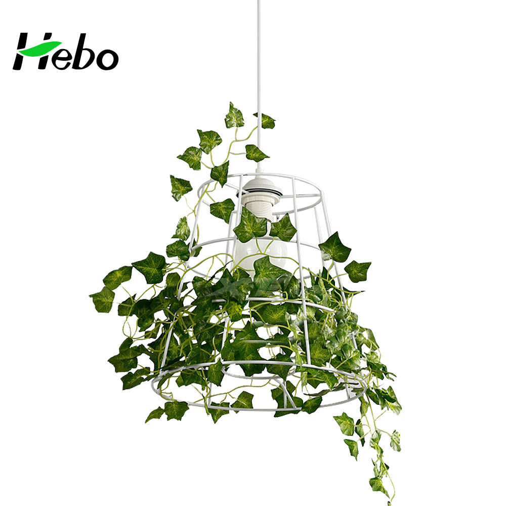 Country style plant decoration pendant lamp with iron wire frame shade