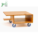 Bamboo rolling caddy TV laptop display stand with 4 wheels