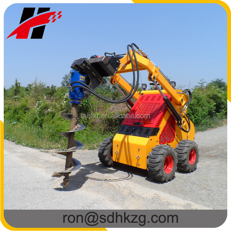 China best quality mini skid steer loader with post hole auger digger attachment