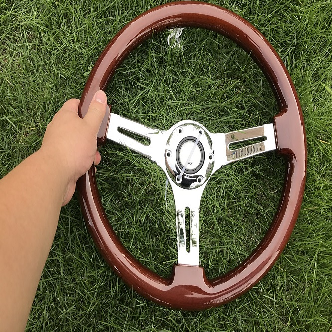 Wooden wood steering wheel 380mm /15inch/38cmracing car steering wheel three racing with horn