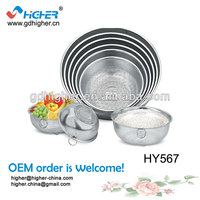 High quality 6-size Stainless Steel Colander/Stainers/Fruit Basket With Stand &Ring