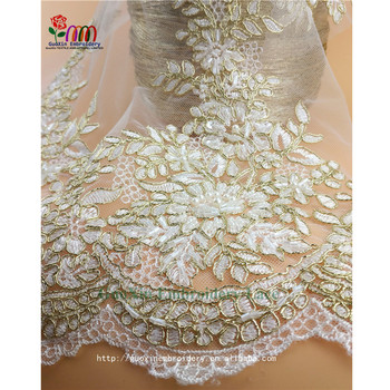 Hot selling Beautiful Fashion Metal line Bridal Beaded Lace for Cloth in China Factory