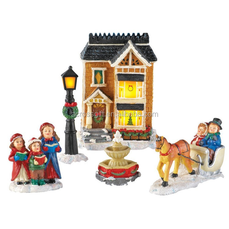 customized handmade color painted christmas village sets houses