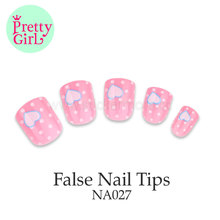 Wholesale french artificial nail art tips classic fake ABS nail tips with handle NA027