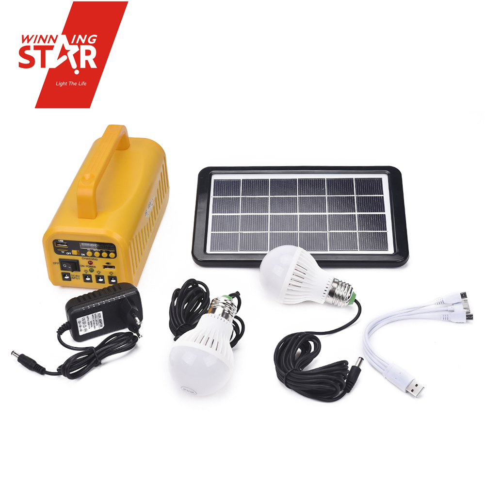 Camping Yellow FM USB TF Radio Speaker Solar Energy System Home Solar System
