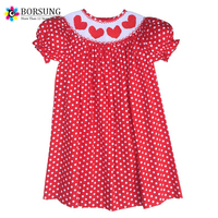 Valentine 2016 Kids Bishop Smocked Dresses 100% Hand Smock With Love