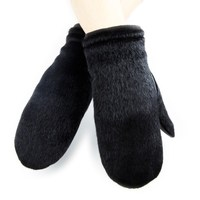 fashion horse hide on hand back and elastic cuff mens mittens