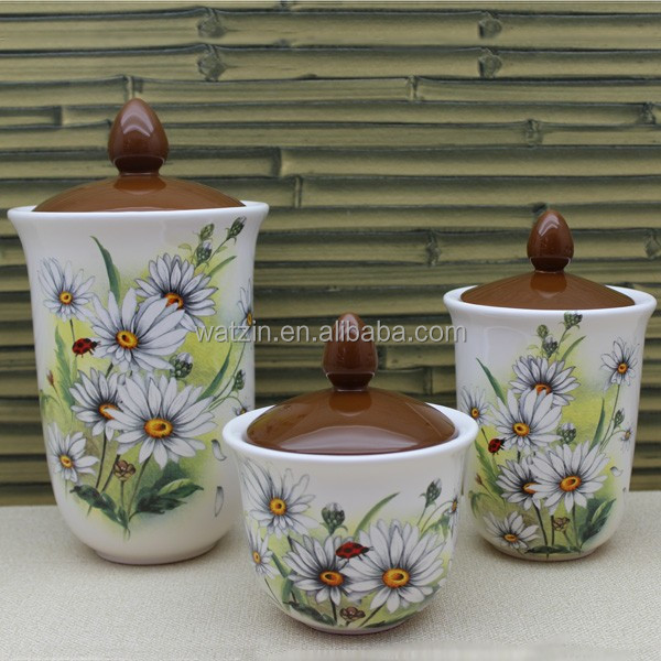 flower design ceramic storage spice jars with lid