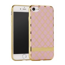 Lattice pattern PU leather skin phone case for iphone7 plus Electroplating bumper soft TPU silicone back cover case for iphone 7