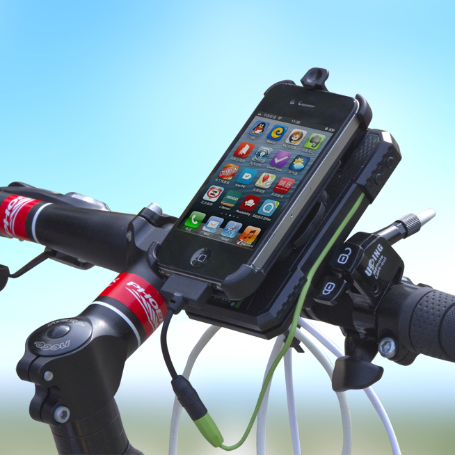 bicycle power bank phone holder and light