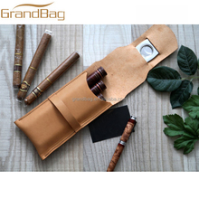 2016 new luxury leather cigar case embossed logo high quality custom present for him for gentleman