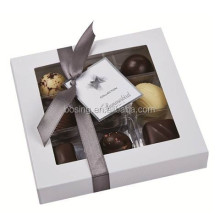 Chocolate box with clear lid and ribbon