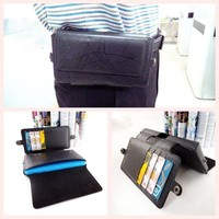 Newest horizontal flip waist wallet cover leather phone case for samsung galaxy s3 s4 s5 with card holder wholesale