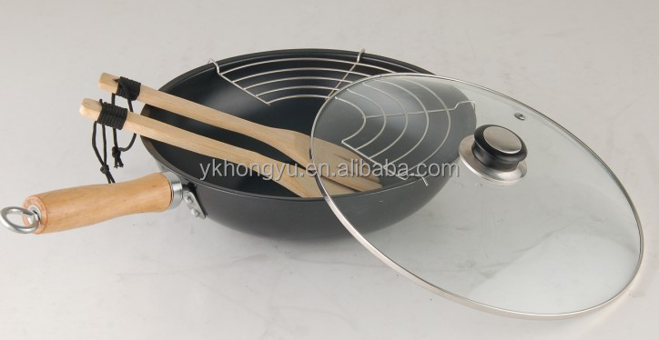 carbon steel non stick wok pan with glass lid and spoon