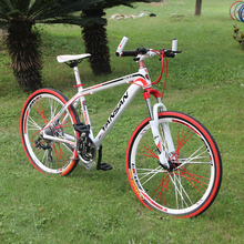 26 inch 24 speed aluminum alloy MTB mountain bicycle with double disc brakes