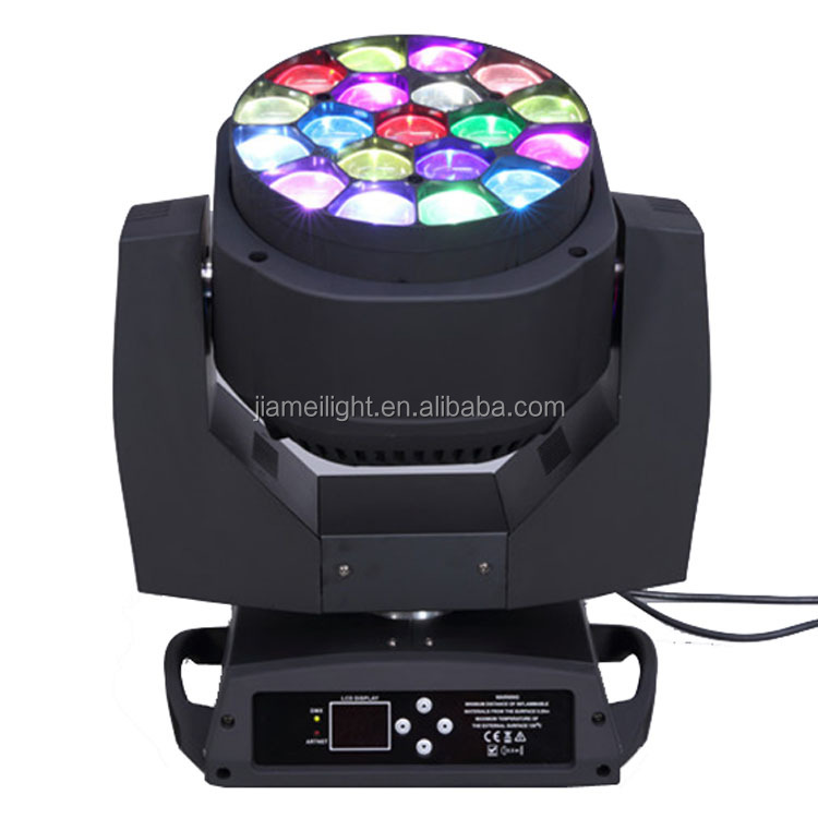 Guangzhou 19 * 15w rgbw beam spot wash 3in1 led bee eye light stage decoration equipment