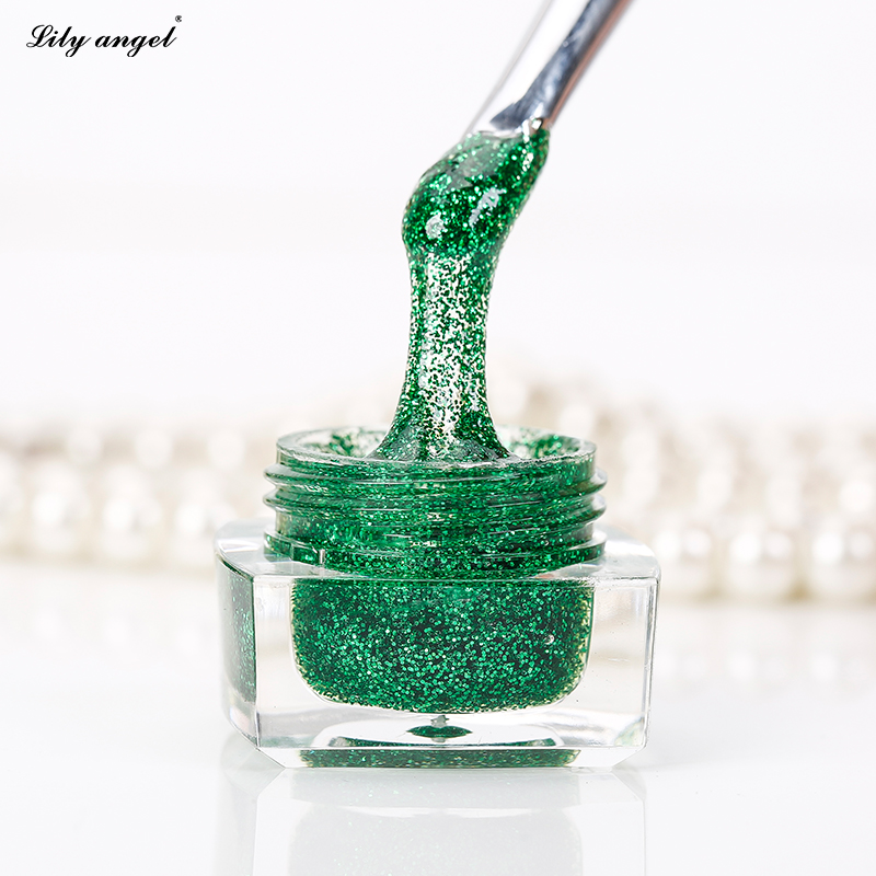 12 Colors Available One step Shimmer Glitter Small Spangle UV Builder for Nail Painting