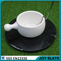 Natural black round polished marble plate