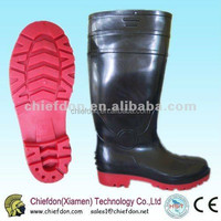 Black&Red safety pvc steel toe boots