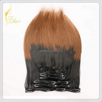 Top Sale Free Sample Two Tone Ombre Silky Straight Clip In Brazilian Hair Weaving Extensions