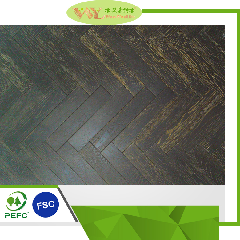 Hot Sale Herringbone Dark Oak 75mm Laminate Wood Flooring