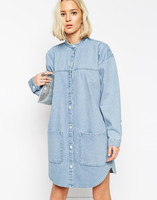 2015 light stone washed denim dress wholesale blue jeans denim shirt dress