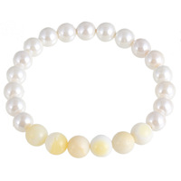 Elegant White Ball Pearl Natural Shell Beads Adjustable Size Line Bracelet For Ladies