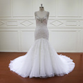 New arrival of crystal beaded lace keyhole back mermaid wedding gowns dress