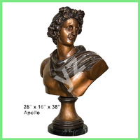 hand casting brass Apollo bust statue for home decoration