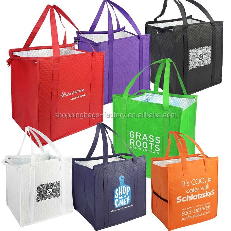 Therm-O-Tote Grocery Food Delivery Extra Large Insulated Non Woven Thermo Bag Sac Thermal Cooler Bag Insulated Tote