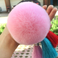 Low price wholesale Rex Rabbit fur ball for Bag installed Real fur tassel pendant made in china OEM