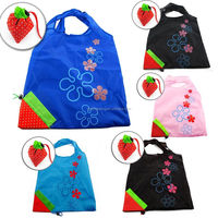 Factory Cheap Cute Strawberry 190T Nylon Foldable Shopping Bag promotional