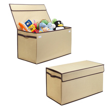 Durable fabric foldable toy storage box with lid