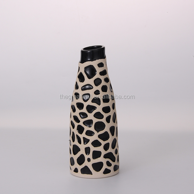 Black and white fashion vase, european home goods decorative vase flower