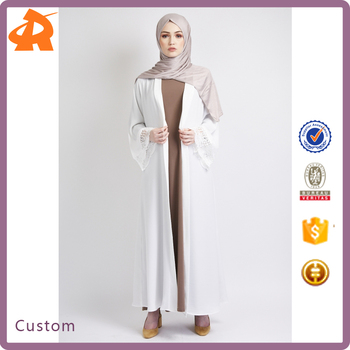 custom plain white muslim new model abaya dubai egypt in china,latest design muslim dress 2018 abaya with white lace